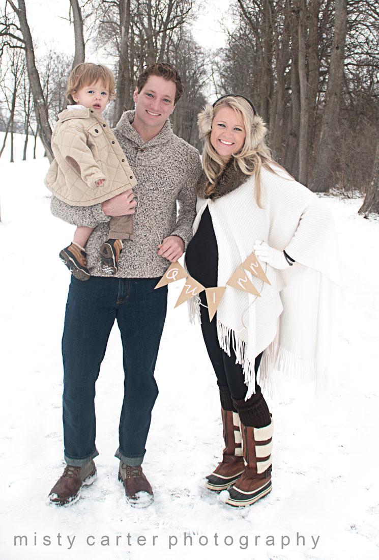 family maternity portraits winter snow name reveal 4909 modern