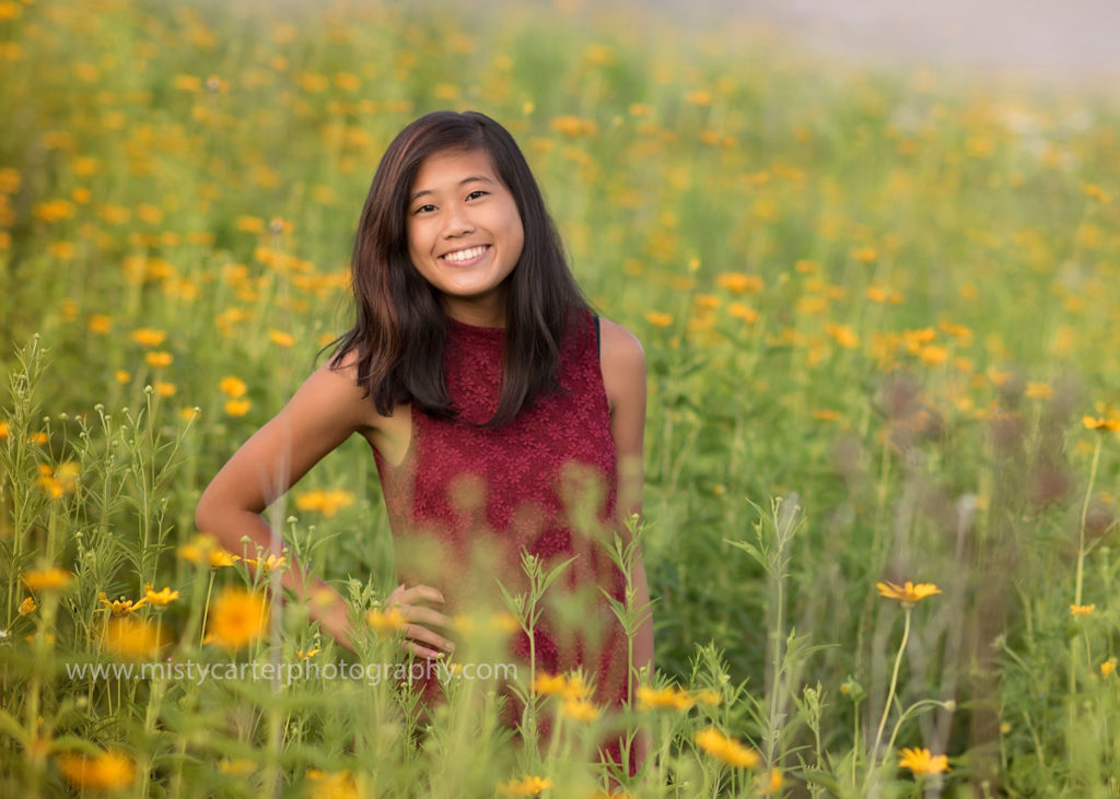 beautiful field of wild flowers for senior pictures