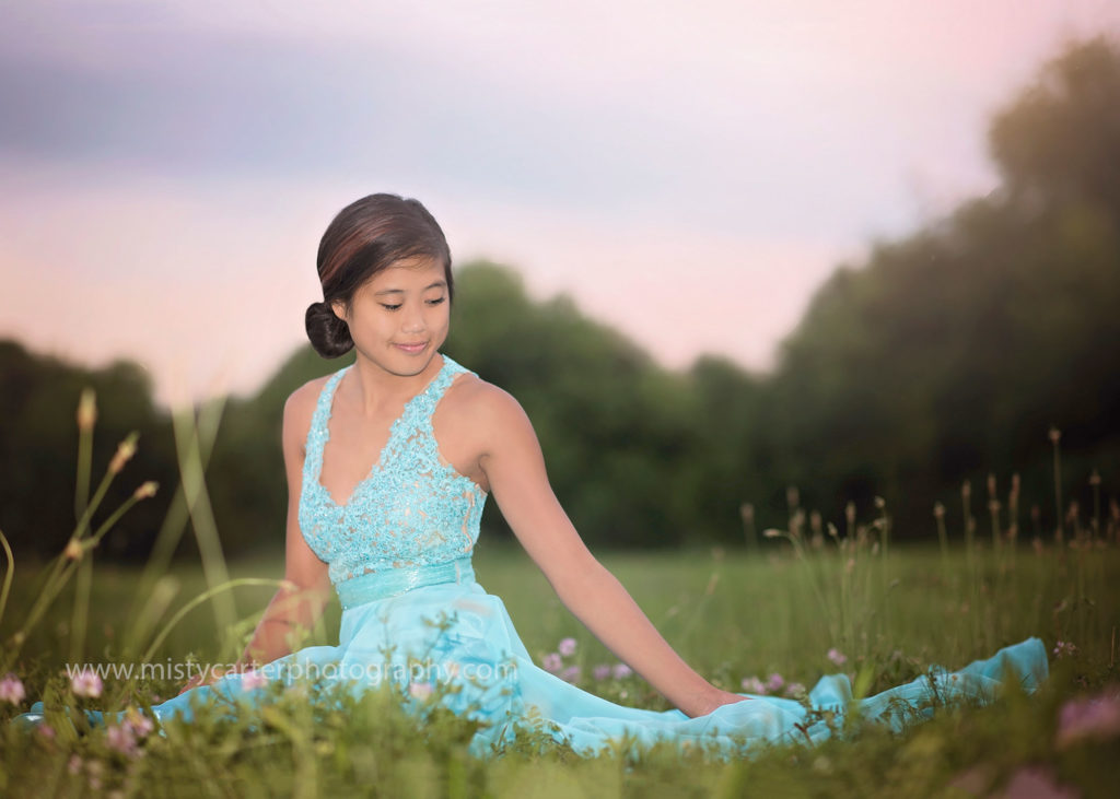 senior pictures with prom dress at sunset