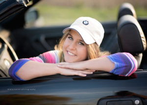 girl in convertible bmw