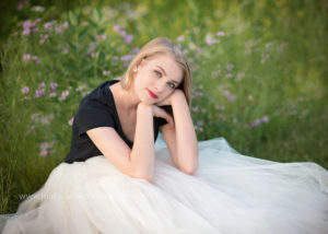 elegant gown in wildflower senior portrait
