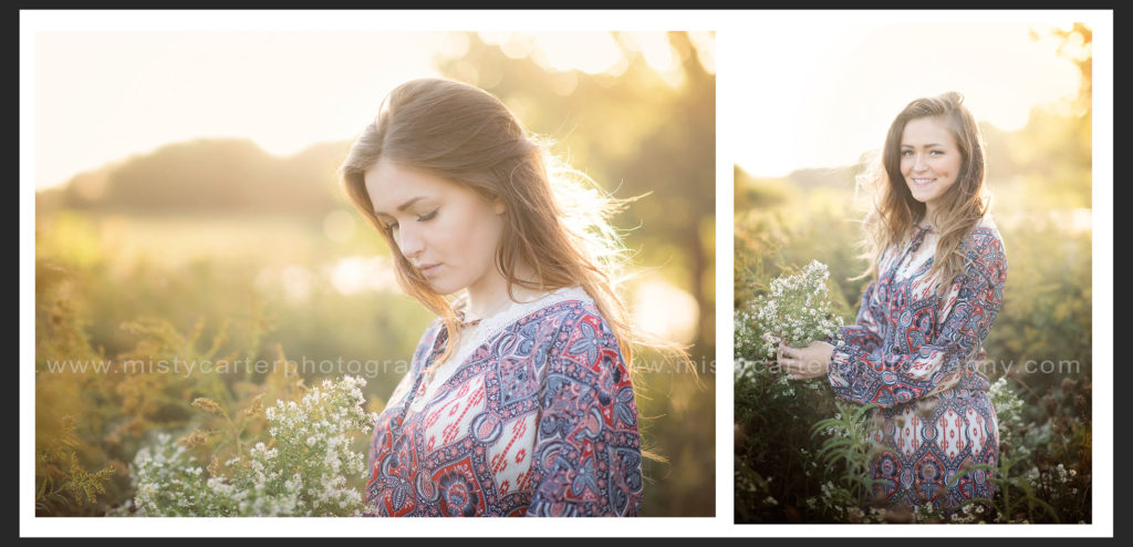 country sunset senior girl