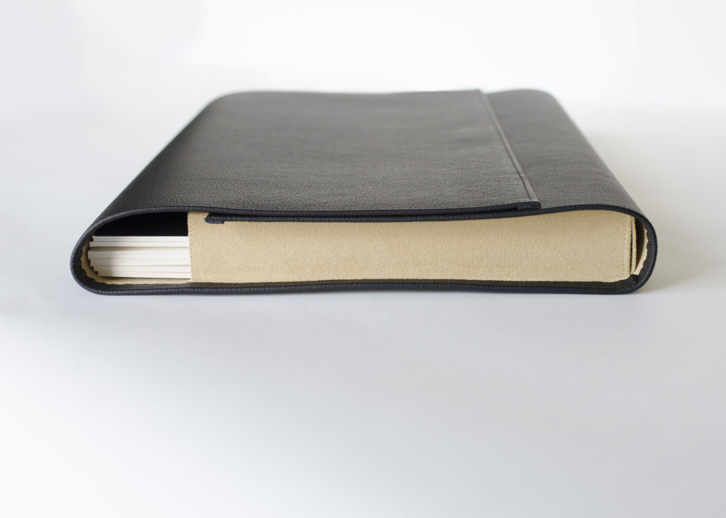 sleek leather folio for portraits
