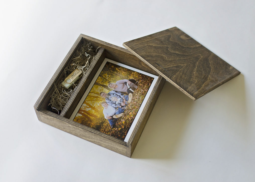 custom wood proof box with family pictures and usb